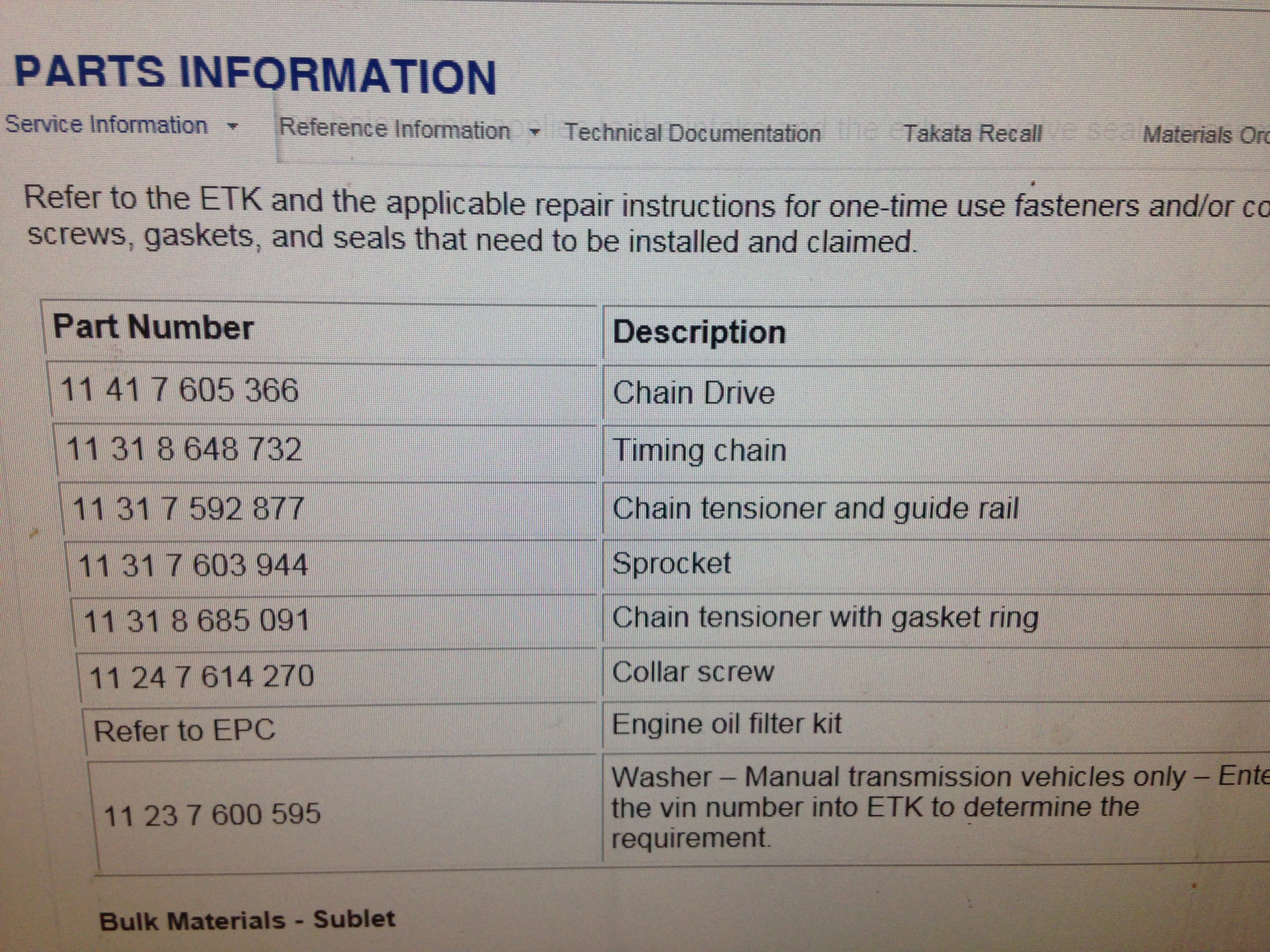 N20 and N26 timing chain parts list | bmwtechnician